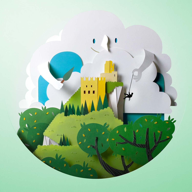 Papercut illustration. Paper cut illustration. Paper art. Cut out paper illustration. Landscape illustration. Advertising illustration.