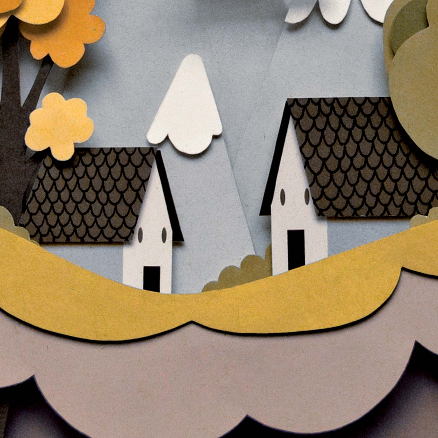 Papercut illustration. Paper art. Cut out illustration. Collage. Home illustrations. Trees illustration. Paper diorama.