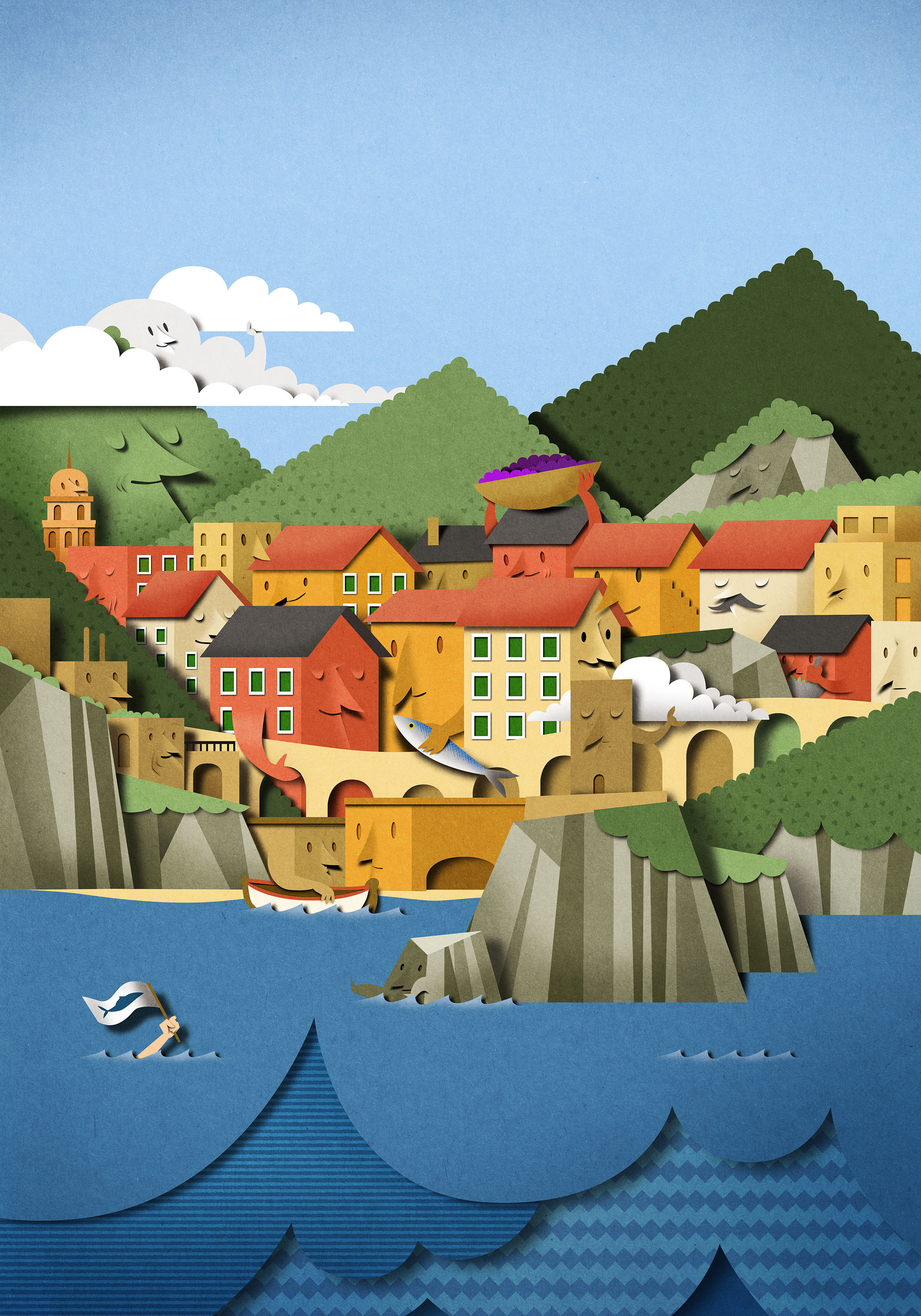 Poster-illustration-Cinque-Terre-landscape-papercut-sea