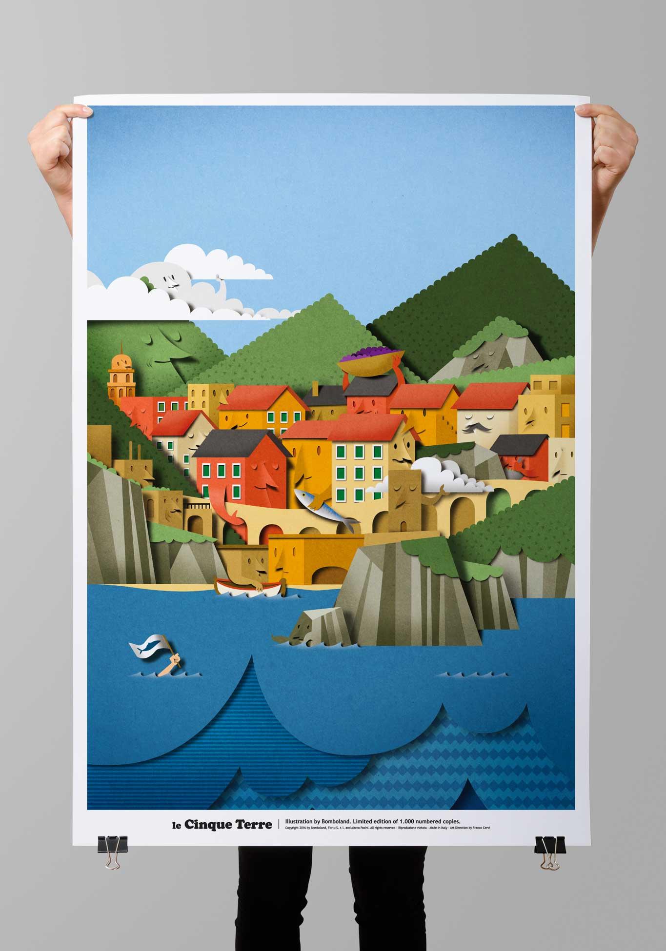 Illustration Poster Cinque Terre