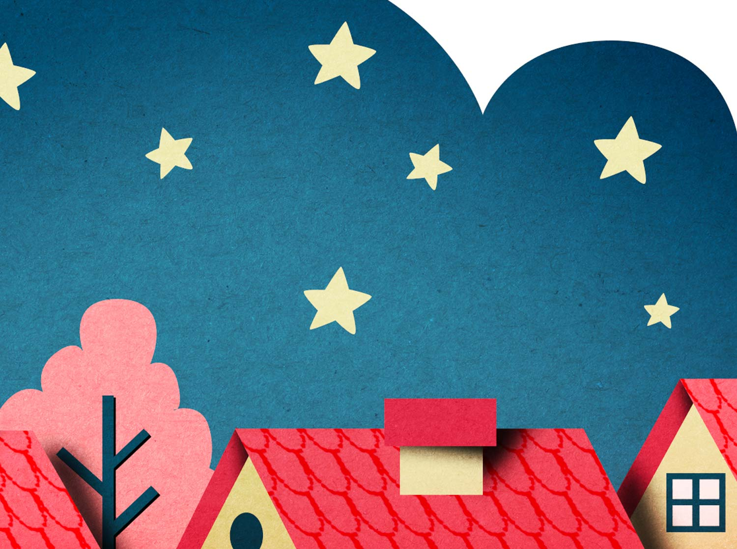 Editorial illustration. Papercut illustration. Paperart. Paper artist. Paper art style. Cut out illustration. Cutout illustration. Paper craft. Paperart style. Stars illustration. Night sky.