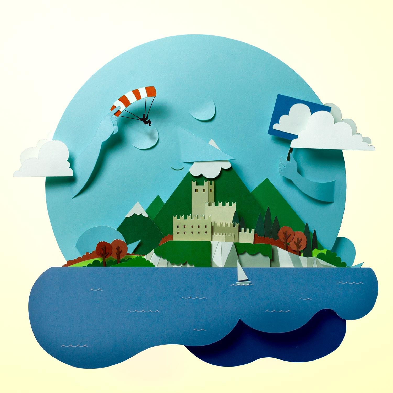 Papercut illustration. Collage illustration. Paperart. Cut out paper illustration. Layers illustration. Lago di Garda illustration.