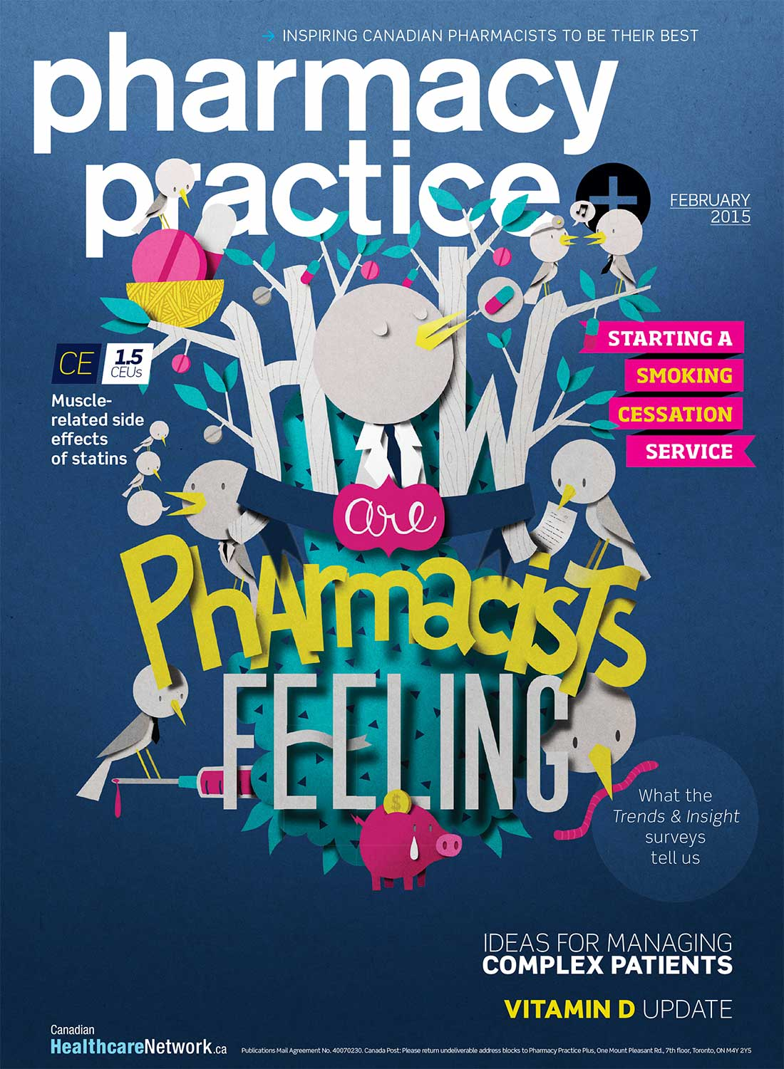 Cover illustration for Pharmacy Practice magazine. Lettering illustration.