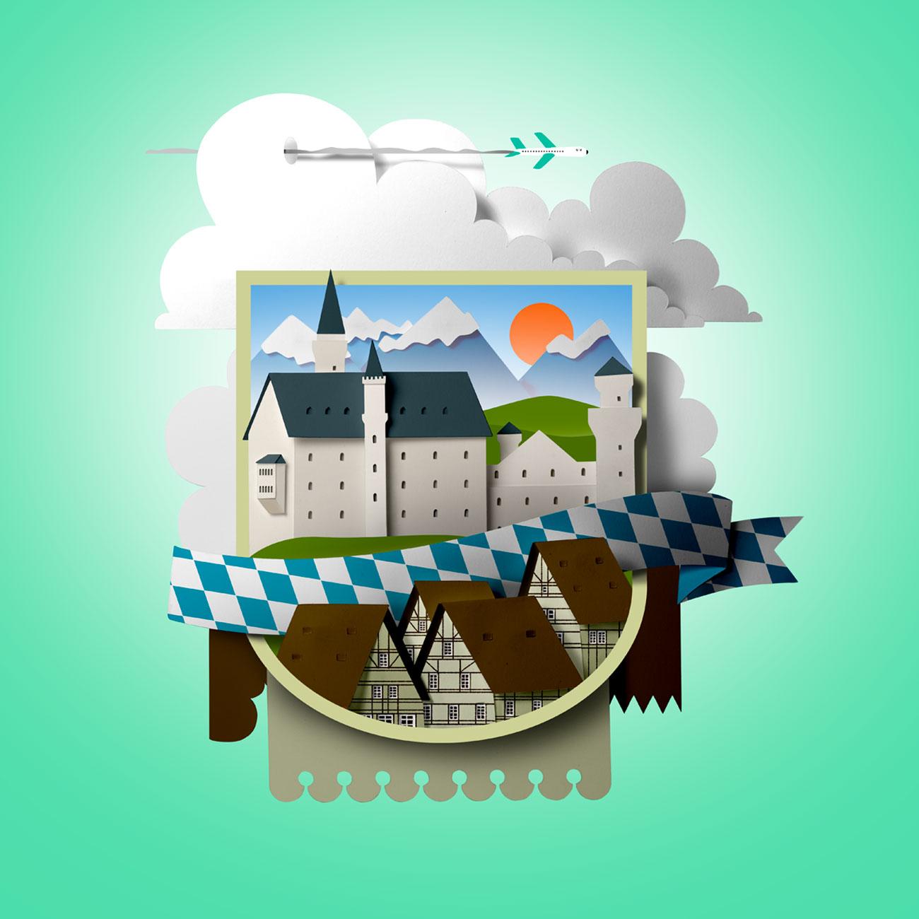Papercut illustration. Paper cut. Paper art. Cut out illustration. Paper diorama. Advertising illustration. Landscape illustration.