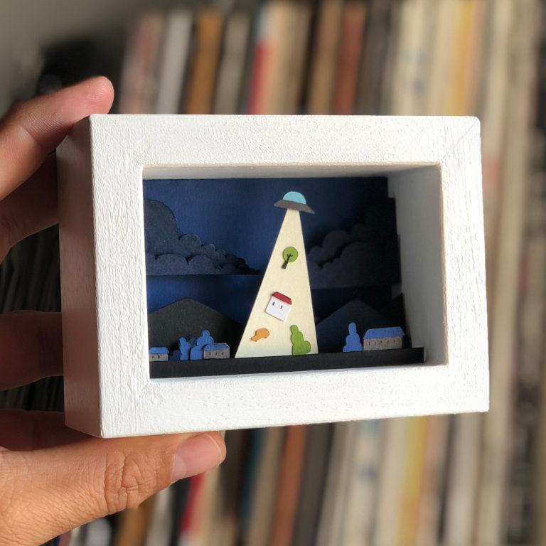 papercut bomboland papercraft cutout paperart alien framed paperart