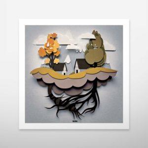 Art print. Wall decoration. Bomboland illustration print. Poster illustration. Papercut illustration. Paperart. Nature. Home.
