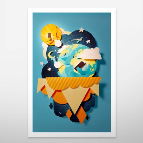 Art print. Wall decoration. Bomboland illustration print. Poster illustration. Papercut illustration. Paperart. Nature. Moon. Heart. Planets. Colorful illustration.
