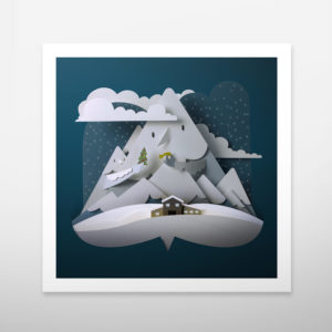 Art print. Christmas print gift. Winter. Snow. Mountain. Wall art. Wall decor. Bomboland illustration print.