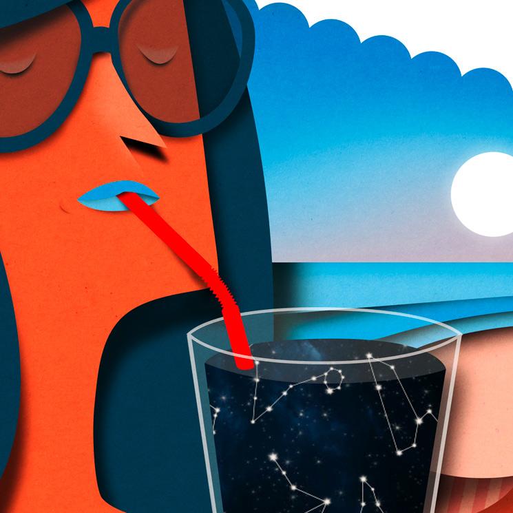 Editorial illustration for Donna Moderna on summer horoscope. Papercut style illustration. Editorial illustration. Horoscope illustration. Paperart. Papercut. Cutout illustration
