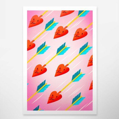 Art print. Wall decoration. Bomboland illustration print. Poster illustration. Papercut illustration. Paperart. Love. Valentine's day gift.