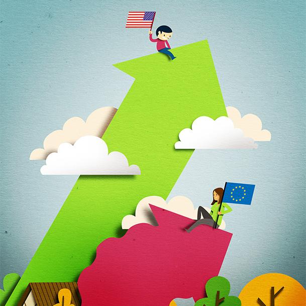 Papercut illustration. Editorial illustration. Economy illustration. Home illustration. Characters.