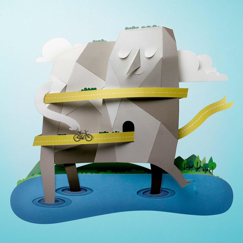 Papercut illustration. Paper cut illustration. Paper art. Cut out paper illustration. Landscape illustration. Advertising illustration. Collage paper.