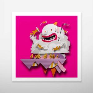 Art print. Wall decoration. Bomboland illustration print. Poster illustration. Papercut illustration. Paperart. Clouds. Colorful illustration. Playful illustration. Art print for kid's room.