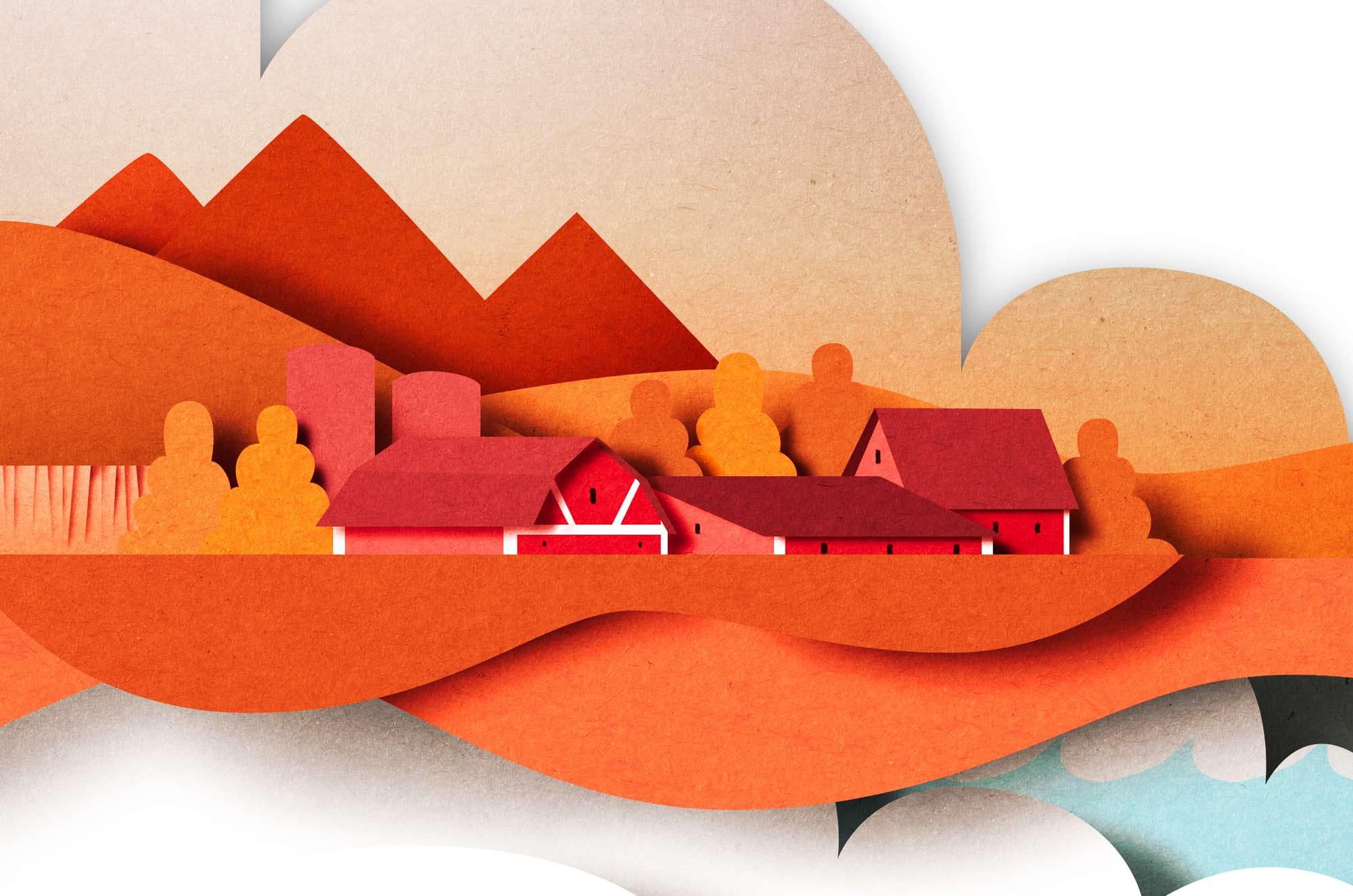 Papercut illustration. Editorial illustration. Paper art. Cut out paper illustration. Craft. Environment.