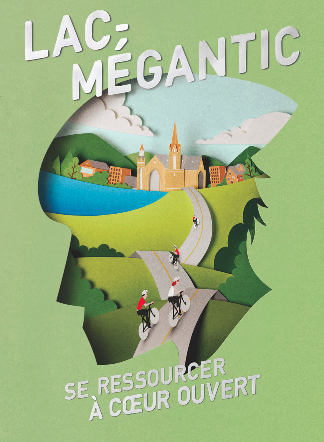 Papercut illustration. Paper art. Cut out. Lac Mégantic. Advertising illustration.