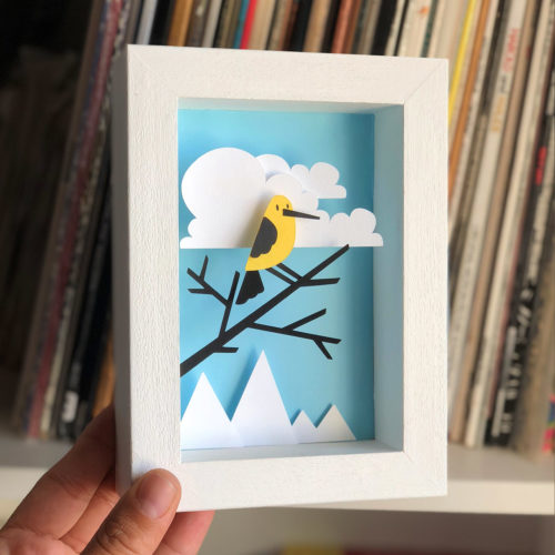 papercut bomboland papercraft cutout paperart bird cloud framed