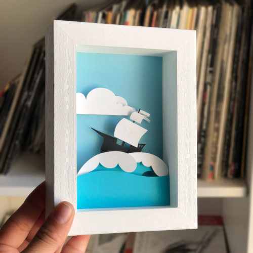 papercut bomboland papercraft cutout paperart pirate sea framed paperart