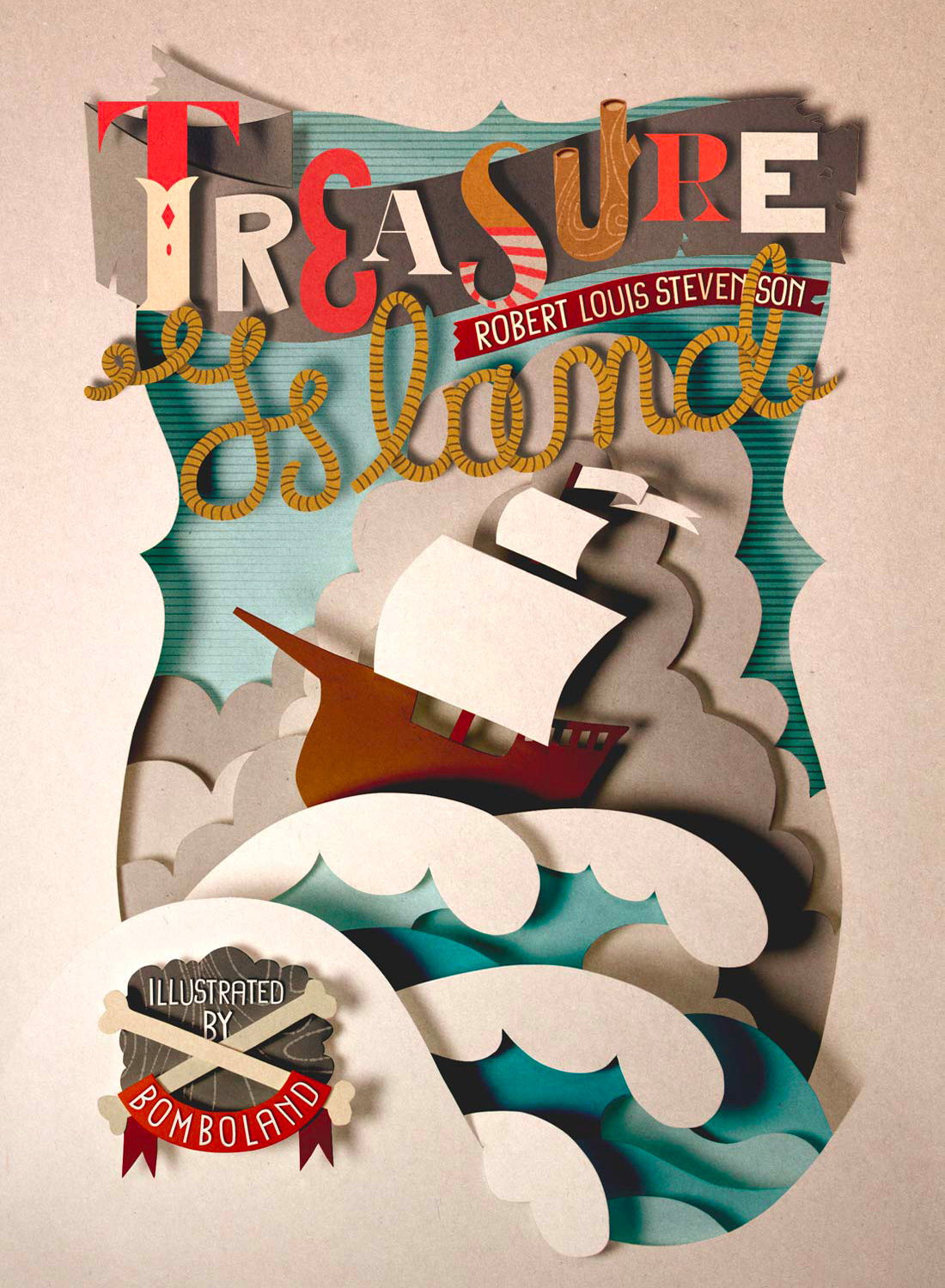 Cover papercut illustration. Treasure Island cover illustration. Lettering illustration. Papecut typo. Paprcut lettering. Cut out illustration.