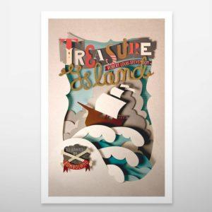 Art print. Wall decoration. Bomboland illustration print. Poster illustration. Papercut illustration. Paperart. Treasure Island. Lettering. Sea. Waves. Boat.