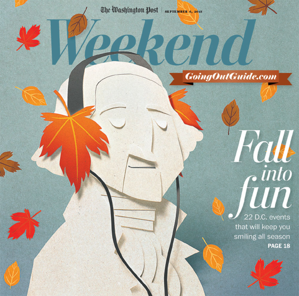 Washington Post Weekend cover. Paper cut illustration. Paper sculpture. Paper art illustration. Paperart. Paper craft illustration. George Washington. Portrait illustration. Fall illustration.